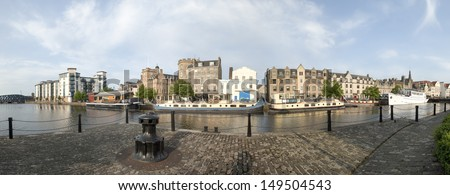EDINBURGH - JULY 24: Panoramic view of Leith on July 24, 2013 in Edinburgh, Scotland. Leith is the old port of Edinburgh, re -developed since 2000 and a now trendy area to live and work in.  - stock photo
