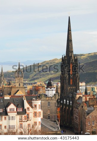 Edinburgh main street - stock photo