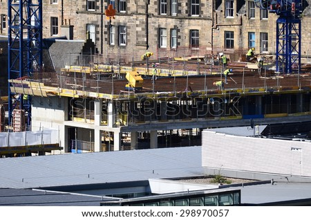 EDINBURGH - MAY 30:  construction at Caltongate on May 30, 2015 in Edinburgh, United Kingdom. Edinburgh is the capital of Scotland and has a population of 493,000. - stock photo
