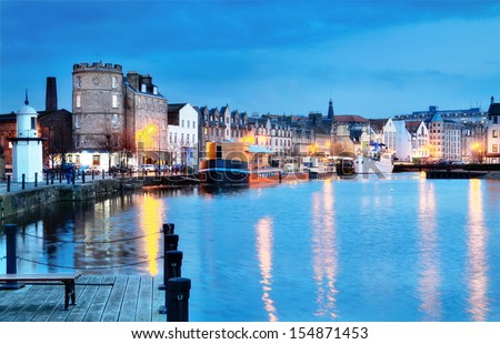 Edinburgh, Scotland: beautifull old harbour Leith. - stock photo