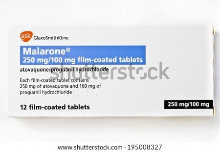 EDINBURGH, SCOTLAND JANUARY 11, 2014: photo of Malarone anti-malarial tablets in Edinburgh, Scotland. Malarone is the GlaxoSmithKline brand name for the atovaquone/proguanil drug combination. - stock photo