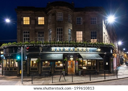 EDINBURGH, SCOTLAND - June 1, 2014: Facade of the famous and traditional Haymarket pub on June 1, 2014 in Edinburgh, Scotland, United Kingdom.  - stock photo