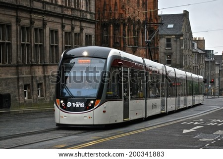 EDINBURGH, SCOTLAND - MAY 31. The new Edinburgh tram system linking the airport with York Place opened on May 31, 2014  in Edinburgh, Scotland - stock photo