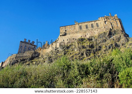 EDINBURGH, SCOTLAND - OCTOBER 01, 2014:  Panoramic view on Edinburgh Castle, Scotland, UK - stock photo