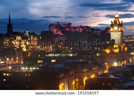 Edinburgh, Scotland skyline at dusk - stock photo