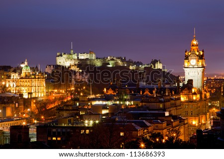 Edinburgh Skylines building and castle from Calton Hill Scotland UK at dusk - stock photo