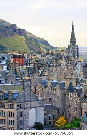 Edinburgh Street Panorama with Arthur´s seat in background - stock photo