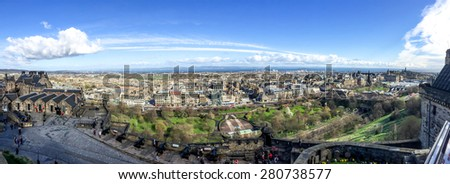 EDINBURGH, UNITED KINGDOM - APRIL 15, 2015: panorama image of Edinburgh city from Edinburgh castle, Scotland, UK. Edinburgh has recognised as the capital of Scotland since at least the 15th century - stock photo