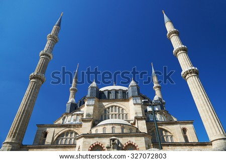 EDIRNE, TURKEY, 03.10, 2015: View of the Selimiye Mosque, the masterpiece of famous architect Mimar Sinan and one of the highest achievements of Islamic architecture. - stock photo