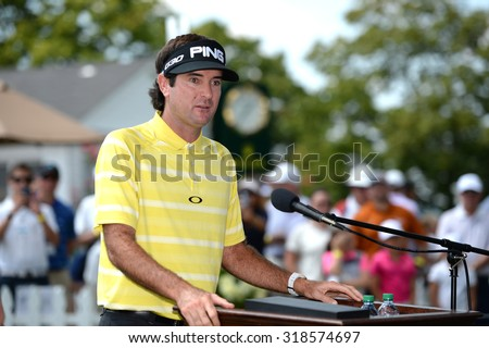 EDISON,NJ-AUGUST 25 Bubba Watson talks about Birdies for the Brave before being presented with his Military Appreciation Award Ceremony held at the Plainfield Country Club in Edison,NJ,August 25,2015. - stock photo