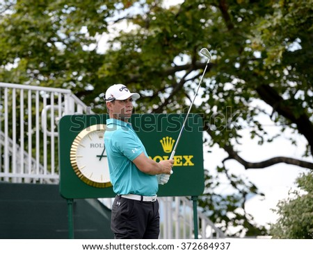 EDISON,NJ-AUGUST 26:Gary Woodland watches his shot during the Barclays Pro-Am held at the Plainfield Country Club in Edison,NJ,August 26,2015. - stock photo