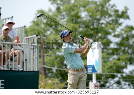 EDISON,NJ-AUGUST 30: Kevin Kisner watches his shot from the 1st Tee during the final round of the Barclays Tournament held at the Plainfield Country Club in Edison,NJ,August 30,2015. - stock photo