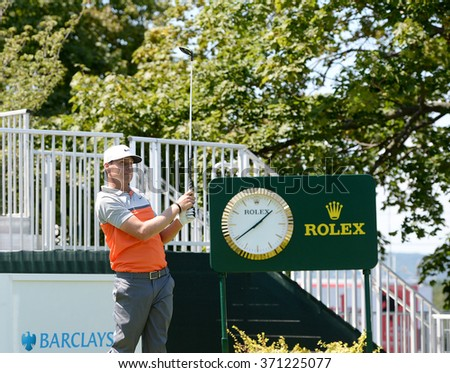 EDISON,NJ-AUGUST 26:Nick Watney watches his shot during the Barclays Pro-Am held at the Plainfield Country Club in Edison,NJ,August 26,2015. - stock photo