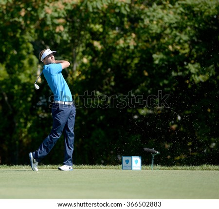EDISON,NJ-AUGUST 28:Russell Henley watches his shot during the second round of the Barclays Tournament held at the Plainfield Country Club in Edison,NJ,August 28,2015. - stock photo
