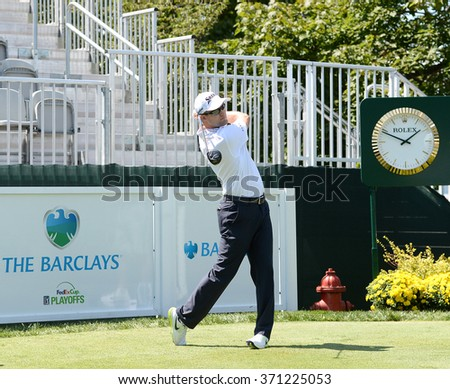EDISON,NJ-AUGUST 26:Russell Knox watches his shot during the Barclays Pro-Am held at the Plainfield Country Club in Edison,NJ,August 26,2015. - stock photo