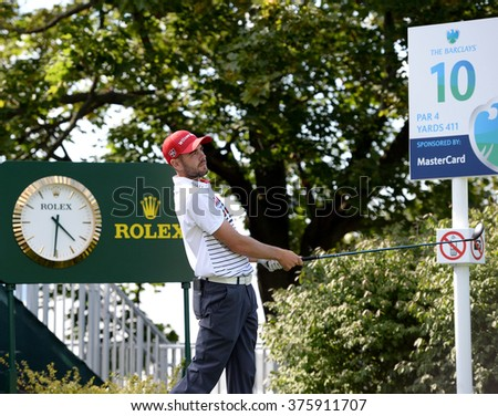 EDISON,NJ-AUGUST 26:Troy Merritt watches his shot during the Barclays Pro-Am held at the Plainfield Country Club in Edison,NJ,August 26,2015. - stock photo