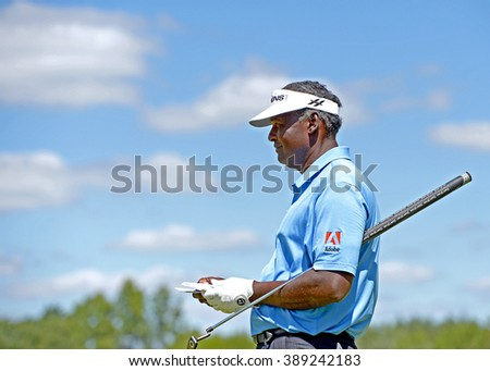 EDISON,NJ-AUGUST 28:Vijay Singh looks down the fairway during the second round of the Barclays Tournament held at the Plainfield Country Club in Edison,NJ,August 28,2015. - stock photo