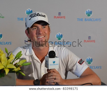 EDISON,NJ-AUGUST 23: Webb Simpson answers questions from the press at the Barclays 2011 Pre-tournament press conference. Edison, NJ, August 23, 2011 - stock photo