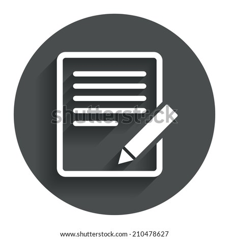 Edit document sign icon. Edit content button. Circle flat button with shadow. Modern UI website navigation. - stock photo