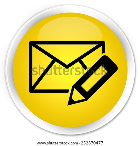 Edit email icon yellow glossy round button - stock photo