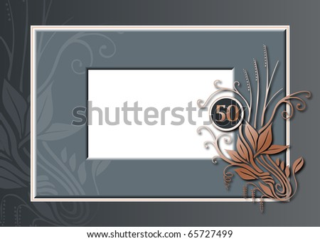 Editable illustration of a grey and copper congratulations card for 50th anniversary, jubilee, wedding or birthday - stock photo