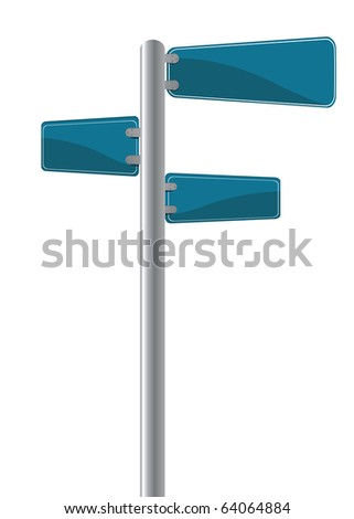 Editable street signs over white - stock photo