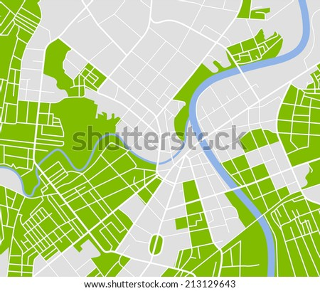 Editable vector street map of town. - stock photo