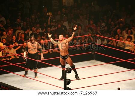 Editorial WWE wrestling stars Randy Orton and Umaga - stock photo