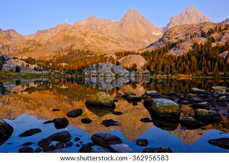 Ediza Lake, Mt Ritter and Banner Peak, The Ansel Adams Wilderness, California - stock photo