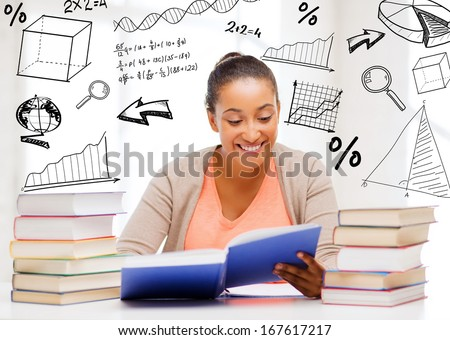 education and college concept - international student studying in college - stock photo