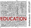 Education and learning concept in tag cloud on white background - stock photo