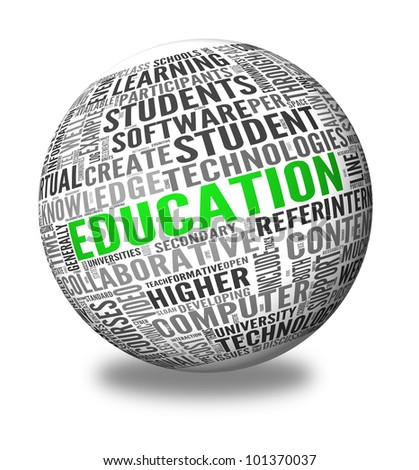 Education and learning concept words in tag cloud on 3d sphere - stock photo