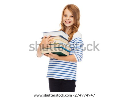 education and school concept - little student girl with many books - stock photo