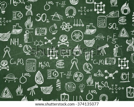 Education background: School Board with  Hand Drawn Science Icons - stock photo
