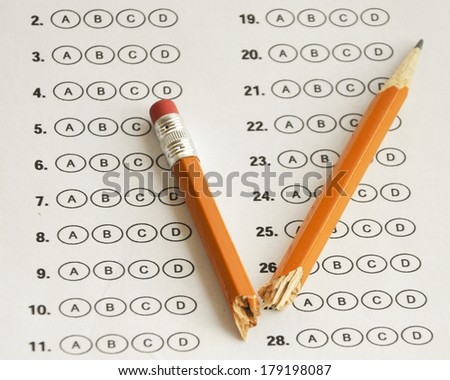 education bubble sheets - stock photo