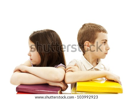 Education, children, angry, with colored book. Isolated on white background. - stock photo