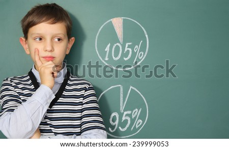 Education concept. Boy before blackboard and diagrams showing success - stock photo