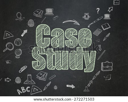Education concept: Chalk Green text Case Study on School Board background with Scheme Of Hand Drawn Education Icons, 3d render - stock photo