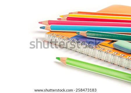 Education concept. Close up of School supplies - stock photo