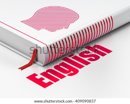 Education concept: closed book with Red Head icon and text English on floor, white background, 3D rendering - stock photo