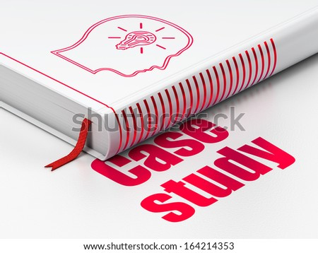 Education concept: closed book with Red Head With Lightbulb icon and text Case Study on floor, white background, 3d render - stock photo