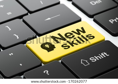 Education concept: computer keyboard with Head With Light Bulb icon and word New Skills, selected focus on enter button, 3d render - stock photo
