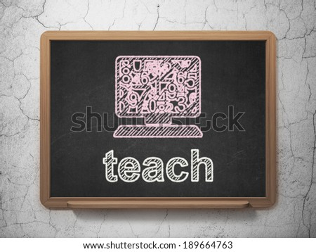 Education concept: Computer Pc icon and text Teach on Black chalkboard on grunge wall background, 3d render - stock photo