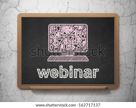 Education concept: Computer Pc icon and text Webinar on Black chalkboard on grunge wall background, 3d render - stock photo