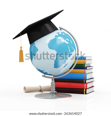 Education Concept. Desk Globe with Graduation Cap, Diploma and Books isolated on white background (Elements of this image furnished by NASA) - stock photo