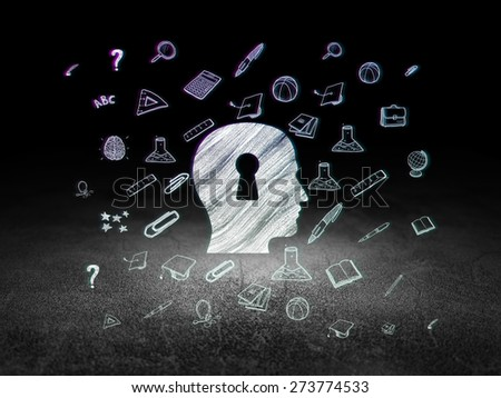 Education concept: Glowing Head With Keyhole icon in grunge dark room with Dirty Floor, black background with  Hand Drawn Education Icons, 3d render - stock photo