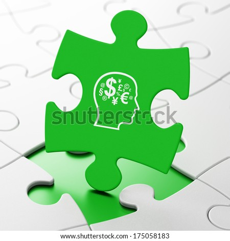 Education concept: Head With Finance Symbol on Green puzzle pieces background, 3d render - stock photo