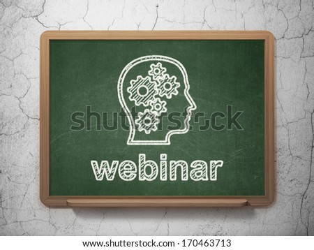 Education concept: Head With Gears icon and text Webinar on Green chalkboard on grunge wall background, 3d render - stock photo