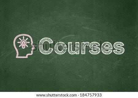 Education concept: Head With Lightbulb icon and text Courses on Green chalkboard background, 3d render - stock photo