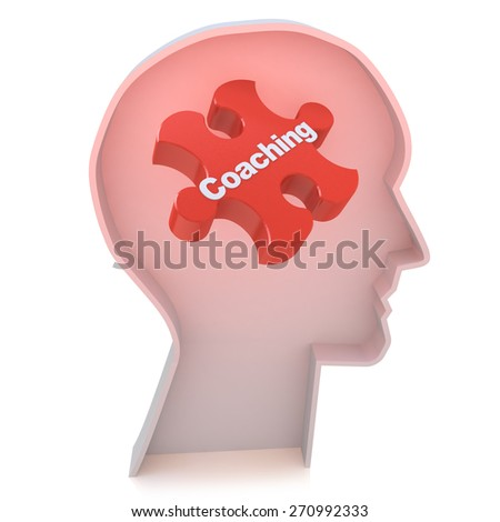 Education concept: Head With Red Puzzle Piece and word Coaching, 3d render - stock photo